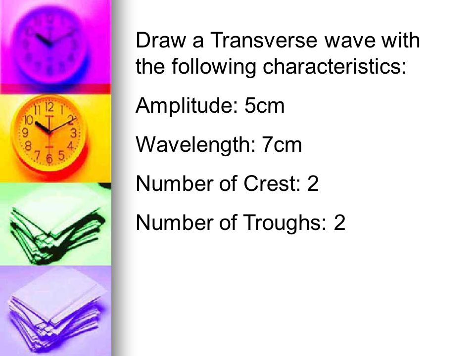 Draw a Transverse wave with the following characteristics: