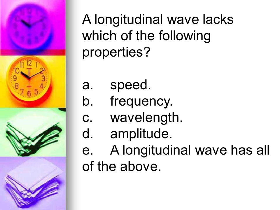 A longitudinal wave lacks which of the following properties