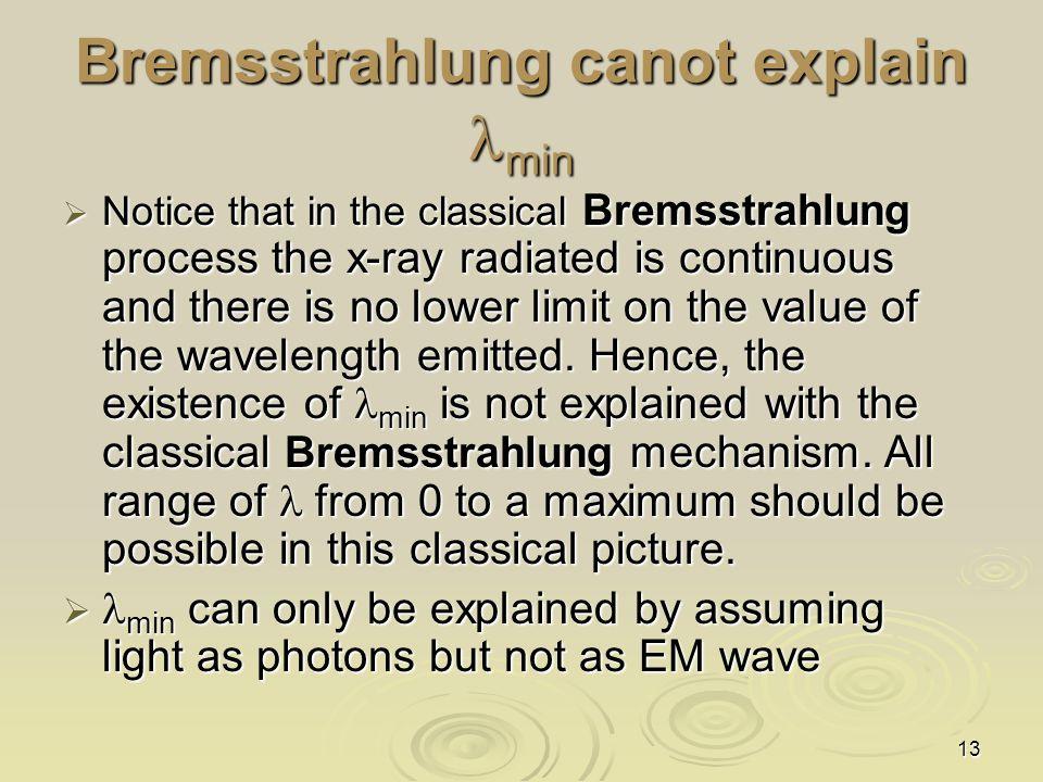 Bremsstrahlung canot explain lmin