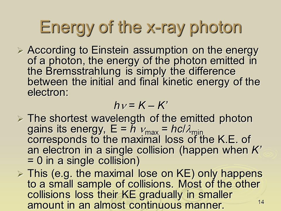 Energy of the x-ray photon