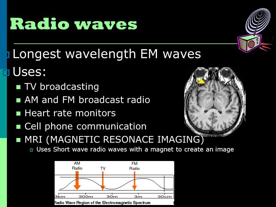 Radio waves Longest wavelength EM waves Uses: TV broadcasting