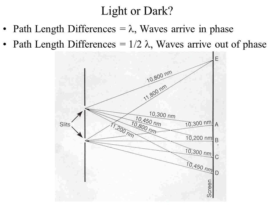 Light or Dark Path Length Differences = l, Waves arrive in phase