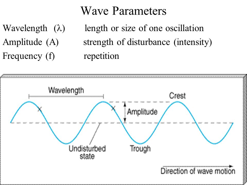 Wave Parameters Wavelength (l) length or size of one oscillation
