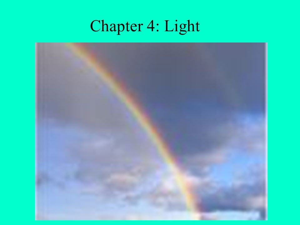 Chapter 4: Light Discuss why the sky is blue, sunset, rainbows