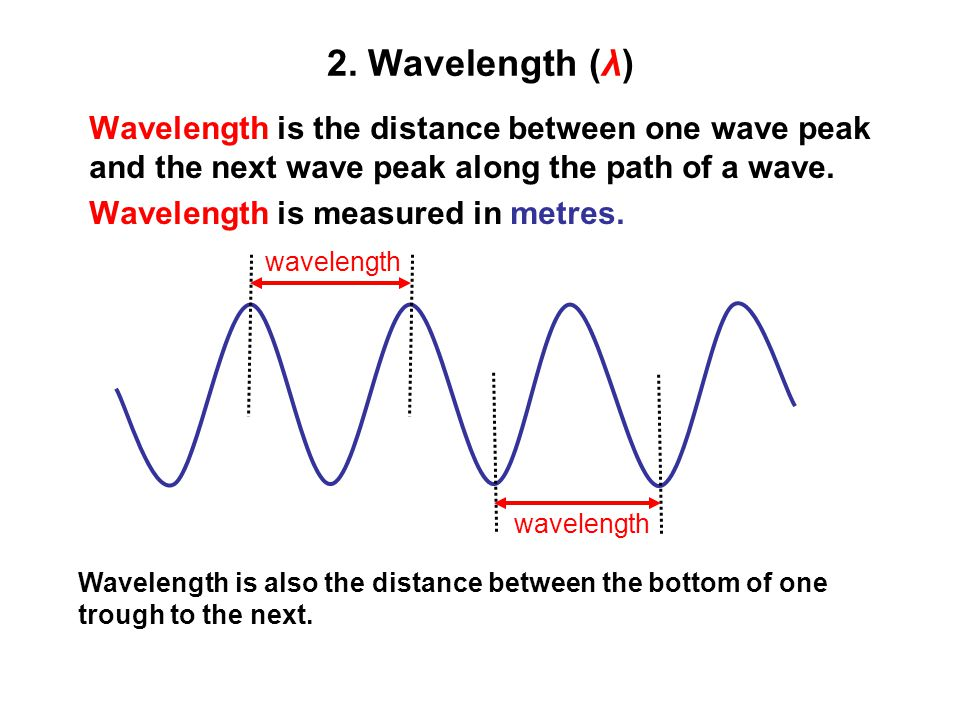 2. Wavelength (λ) Wavelength is the distance between one wave peak and the next wave peak along the path of a wave.