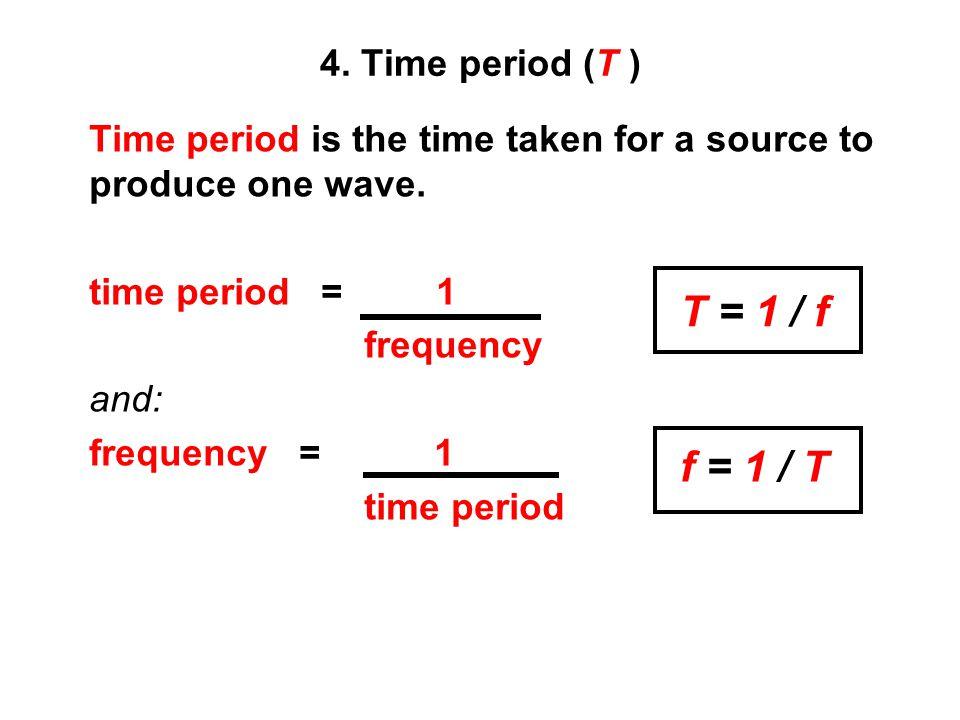 T = 1 / f f = 1 / T 4. Time period (T )