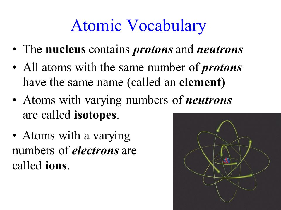 Atomic Vocabulary The nucleus contains protons and neutrons