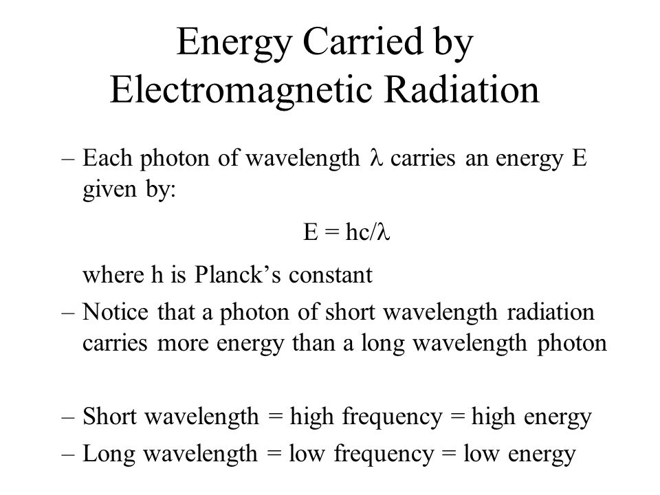 Energy Carried by Electromagnetic Radiation
