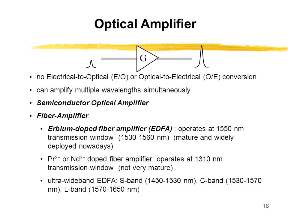 Optical Amplifier G. no Electrical-to-Optical (E/O) or Optical-to-Electrical (O/E) conversion. can amplify multiple wavelengths simultaneously.