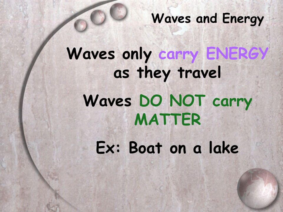 Waves only carry ENERGY as they travel Waves DO NOT carry MATTER