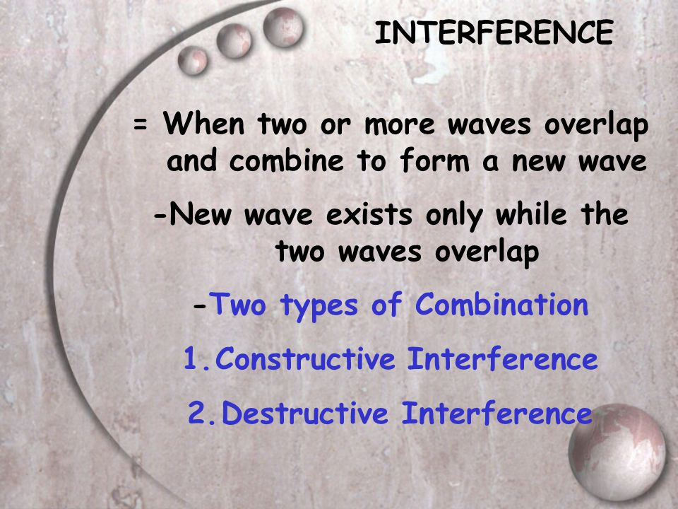 = When two or more waves overlap and combine to form a new wave