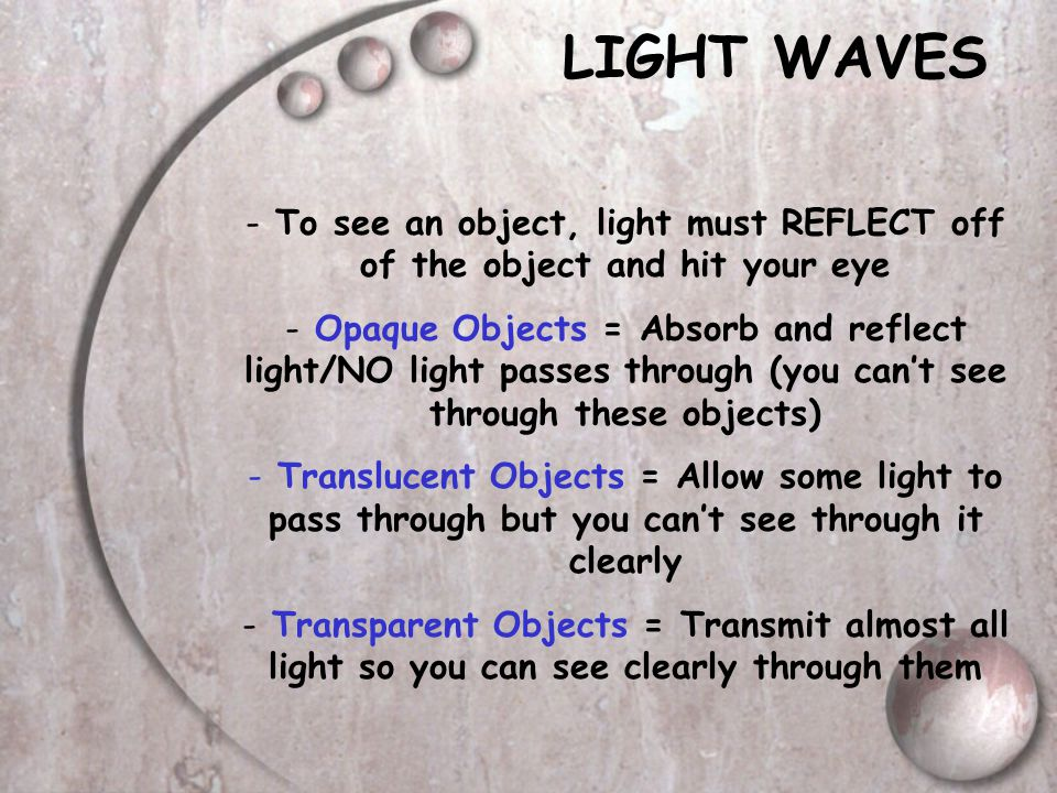 LIGHT WAVES To see an object, light must REFLECT off of the object and hit your eye.