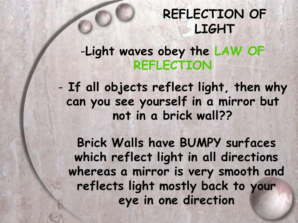 Light waves obey the LAW OF REFLECTION