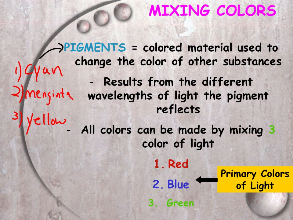 MIXING COLORS PIGMENTS = colored material used to change the color of other substances.