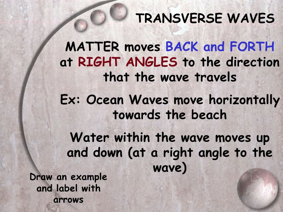 Ex: Ocean Waves move horizontally towards the beach