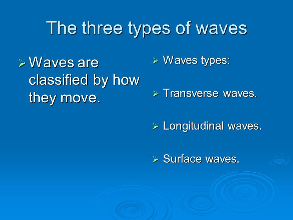 The three types of waves