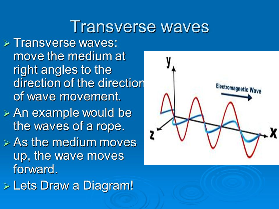Transverse waves Transverse waves: move the medium at right angles to the direction of the direction of wave movement.