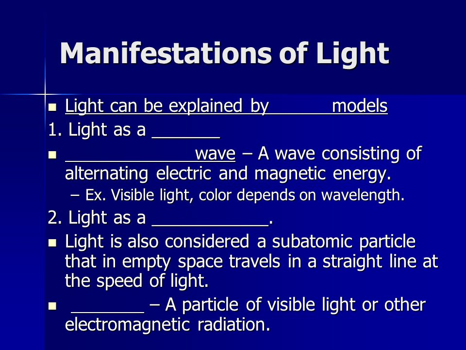 Manifestations of Light