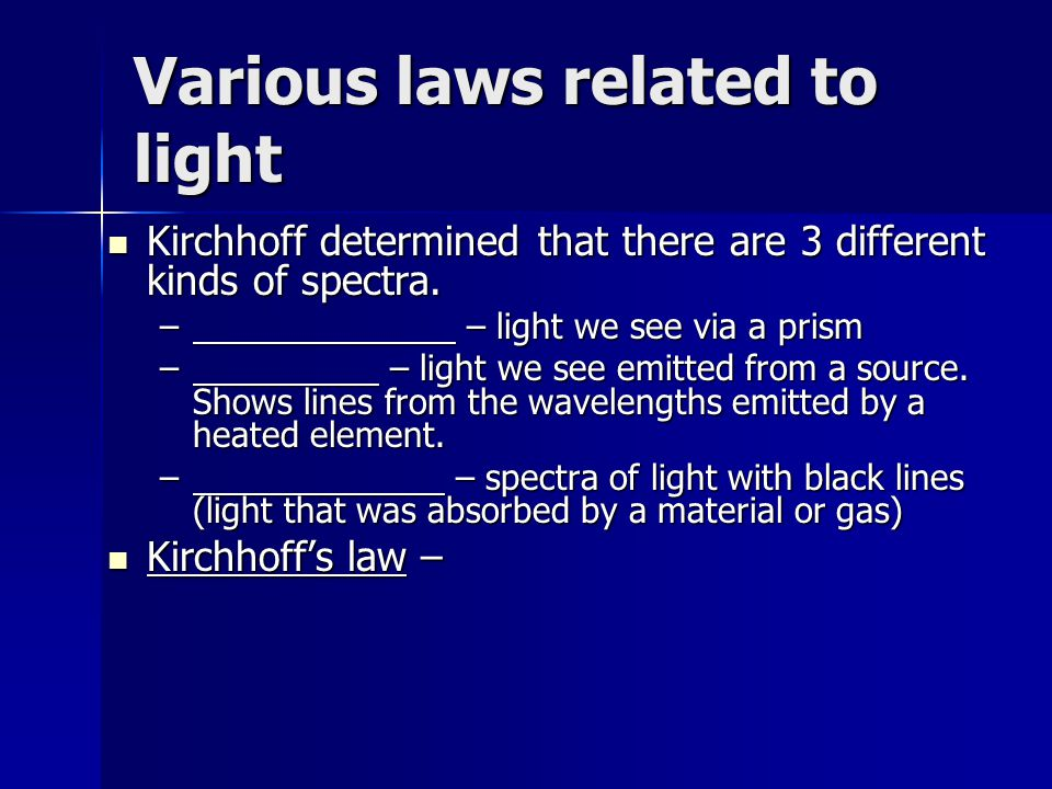 Various laws related to light