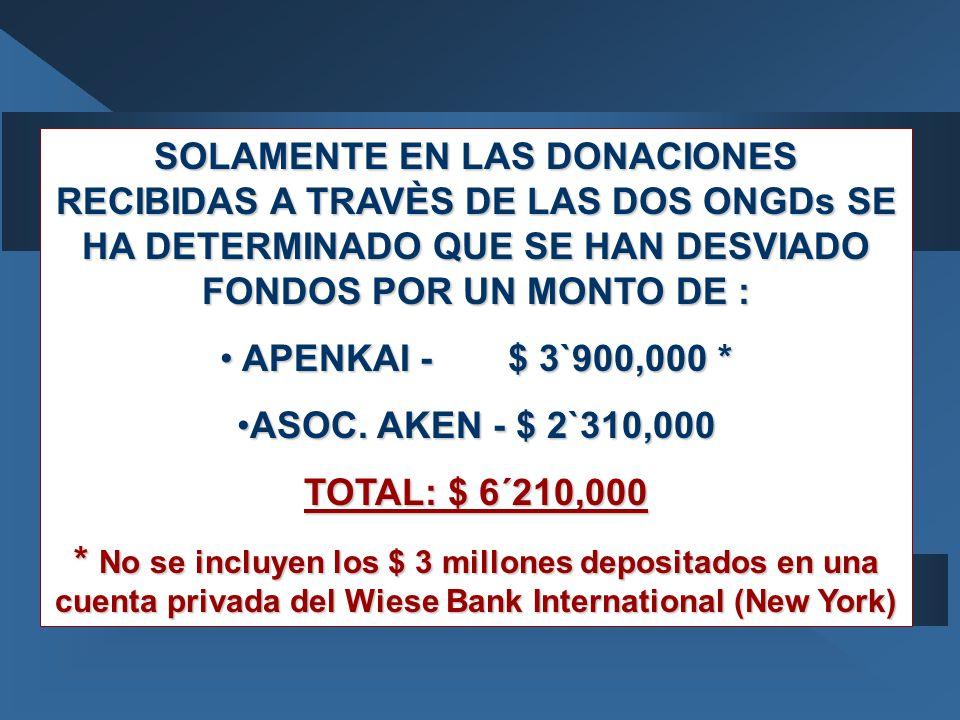 SOLAMENTE EN LAS DONACIONES RECIBIDAS A TRAVÈS DE LAS DOS ONGDs SE HA DETERMINADO QUE SE HAN DESVIADO FONDOS POR UN MONTO DE :
