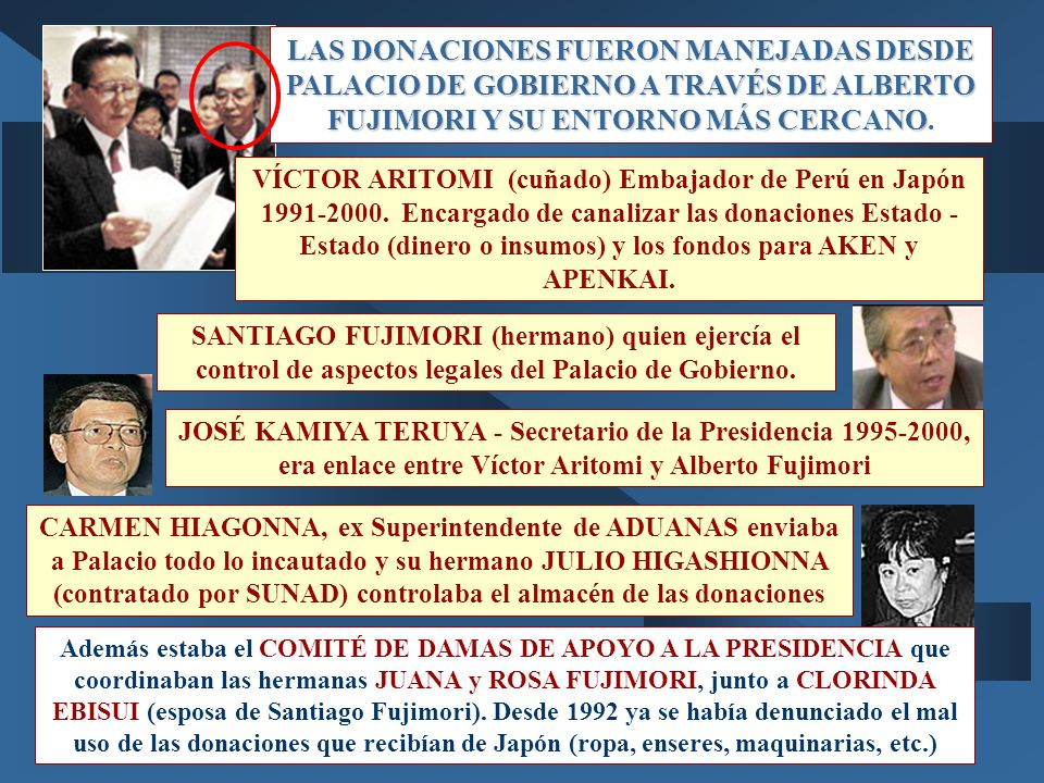 LAS DONACIONES FUERON MANEJADAS DESDE PALACIO DE GOBIERNO A TRAVÉS DE ALBERTO FUJIMORI Y SU ENTORNO MÁS CERCANO.