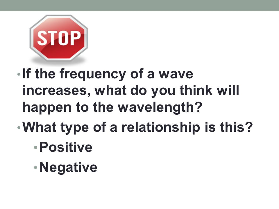 If the frequency of a wave increases, what do you think will happen to the wavelength