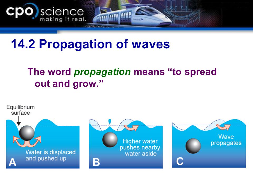 14.2 Propagation of waves The word propagation means to spread out and grow.