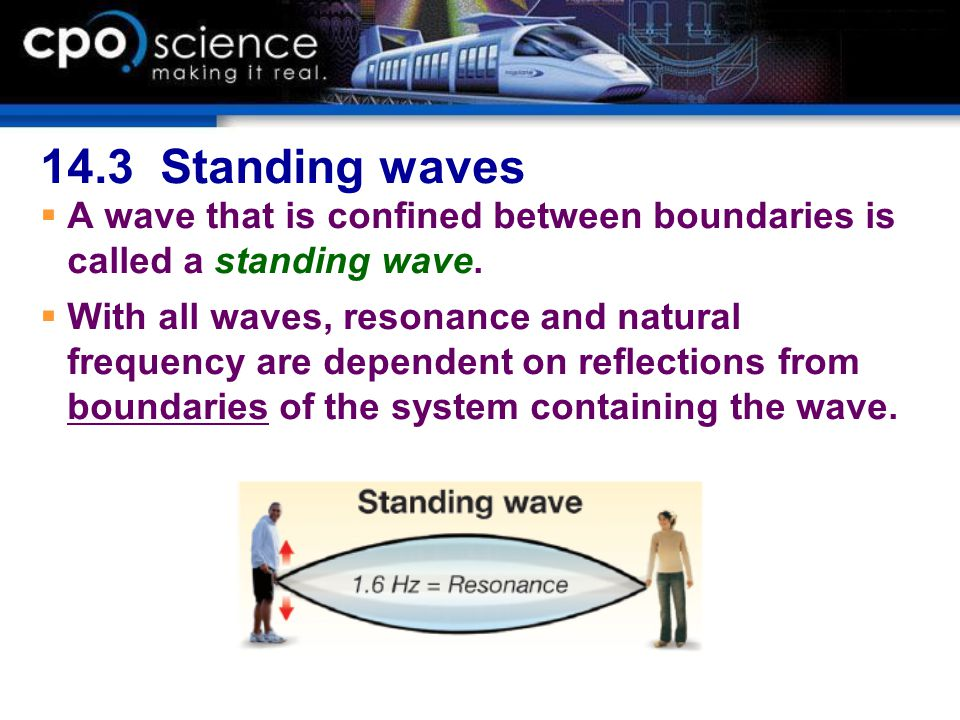 14.3 Standing waves A wave that is confined between boundaries is called a standing wave.