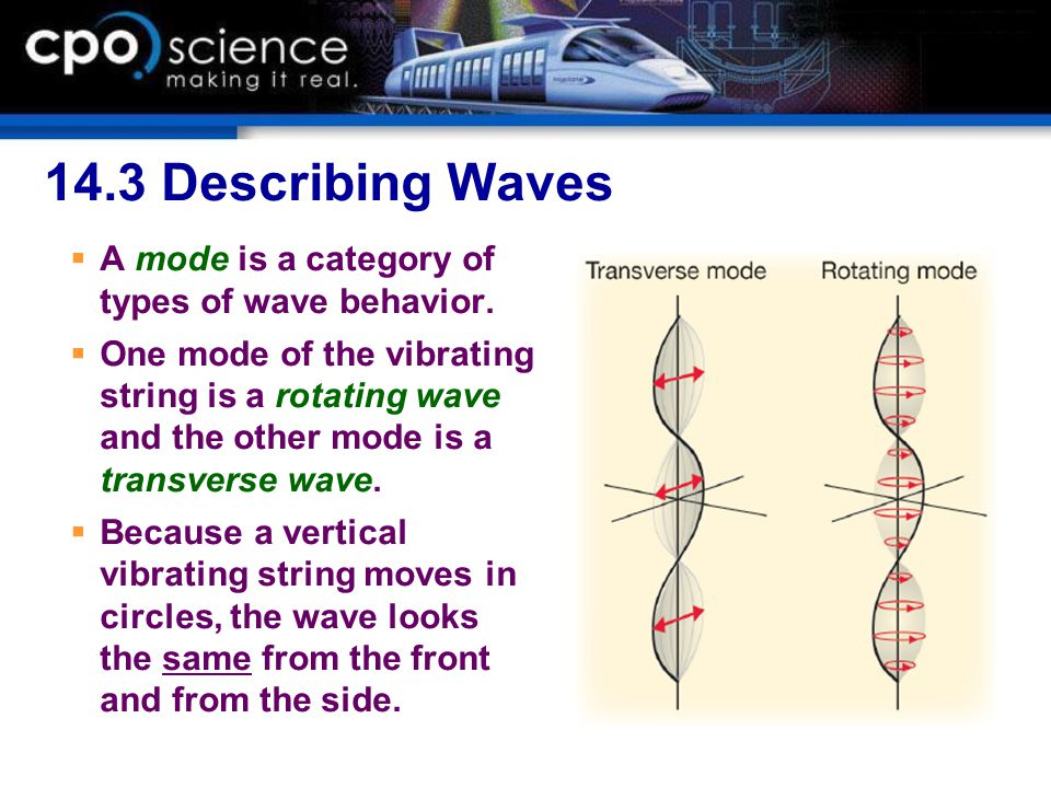 14.3 Describing Waves A mode is a category of types of wave behavior.