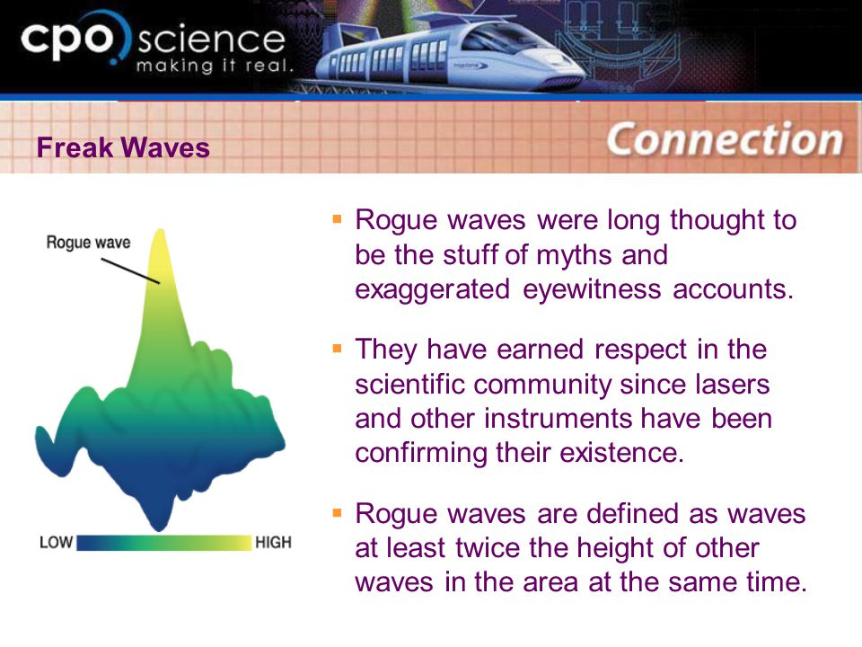 Freak Waves Rogue waves were long thought to be the stuff of myths and exaggerated eyewitness accounts.