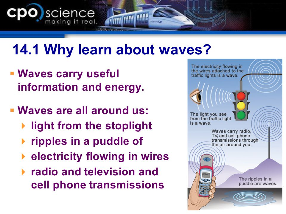 14.1 Why learn about waves Waves carry useful information and energy.