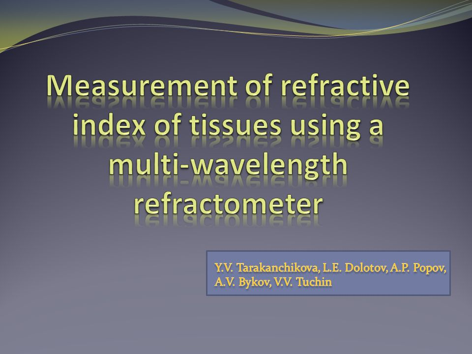 Measurement of refractive index of tissues using a multi-wavelength refractometer