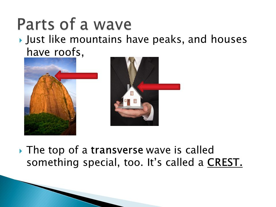Parts of a wave Just like mountains have peaks, and houses have roofs,
