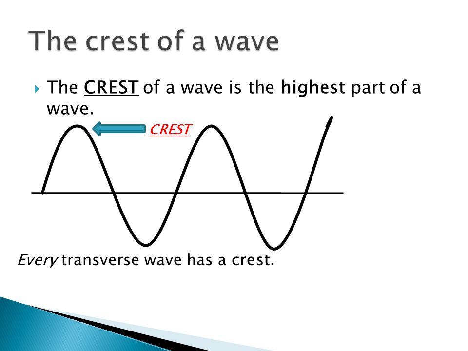 The crest of a wave The CREST of a wave is the highest part of a wave.