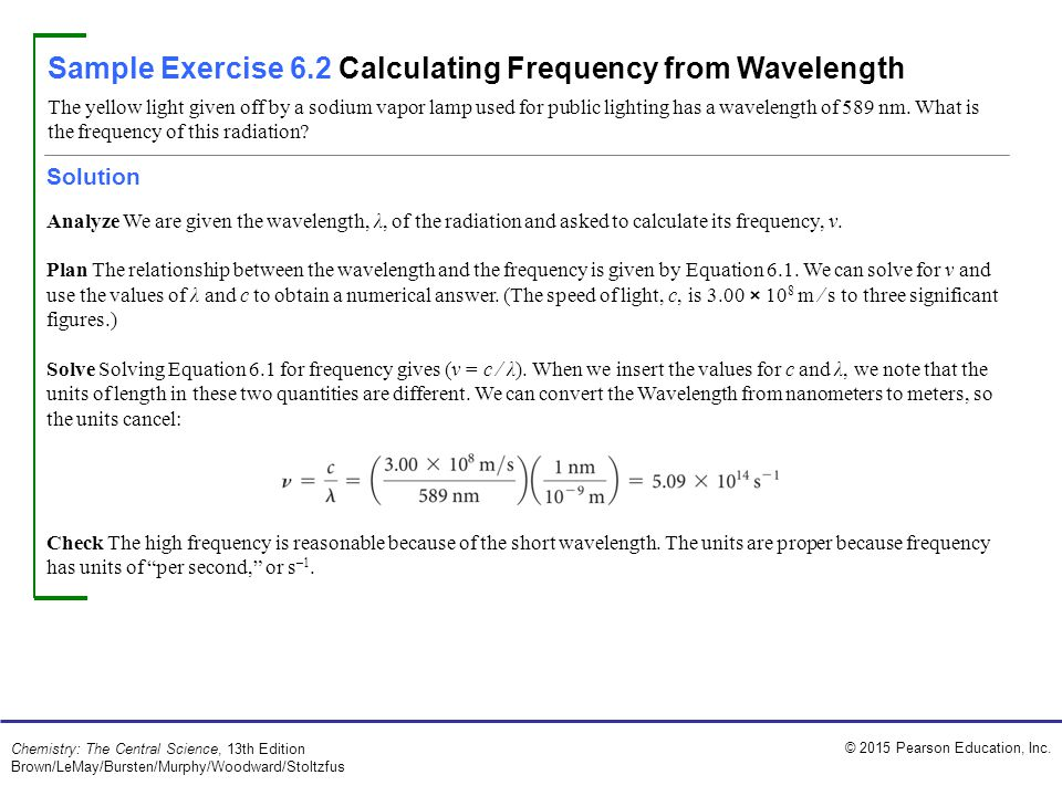 Sample Exercise 6.2 Calculating Frequency from Wavelength
