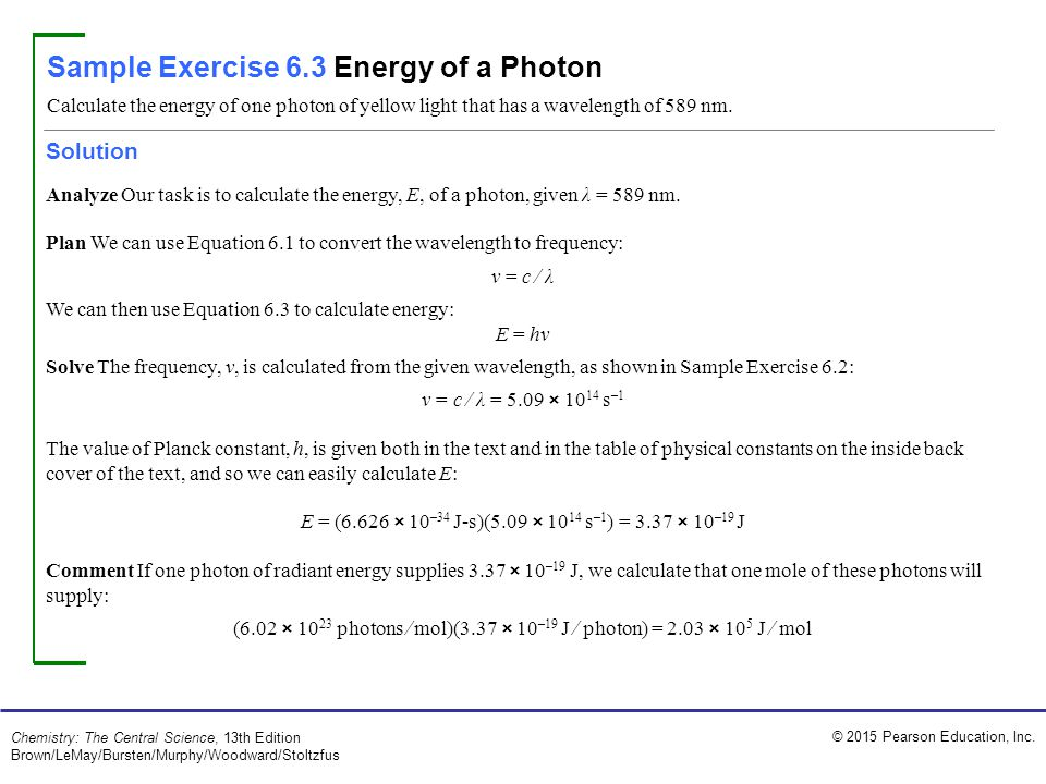 Sample Exercise 6.3 Energy of a Photon