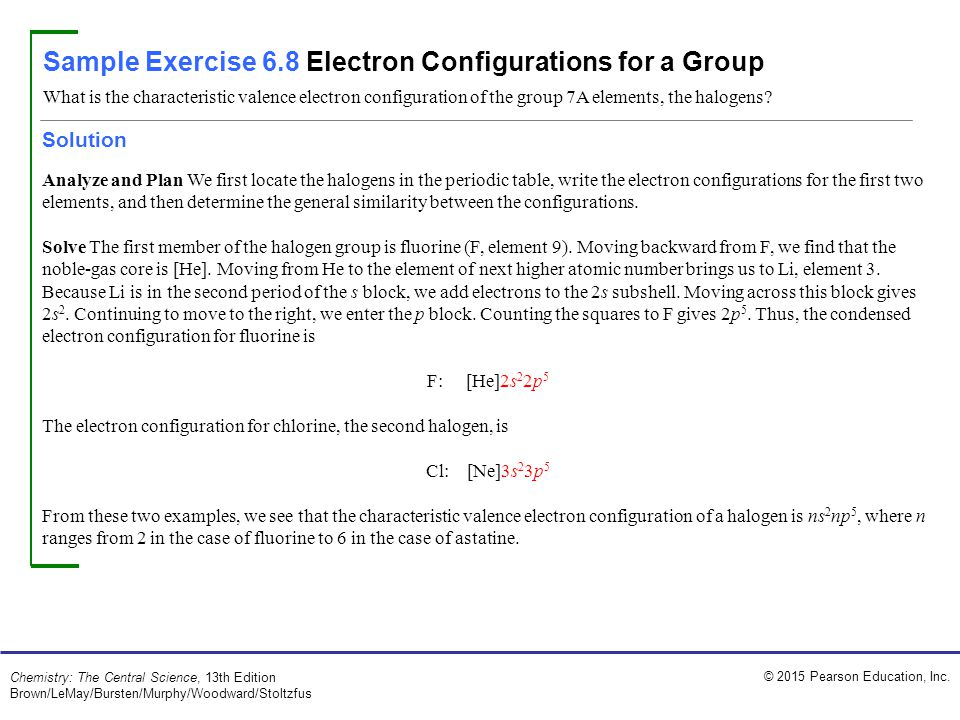 Sample Exercise 6.8 Electron Configurations for a Group