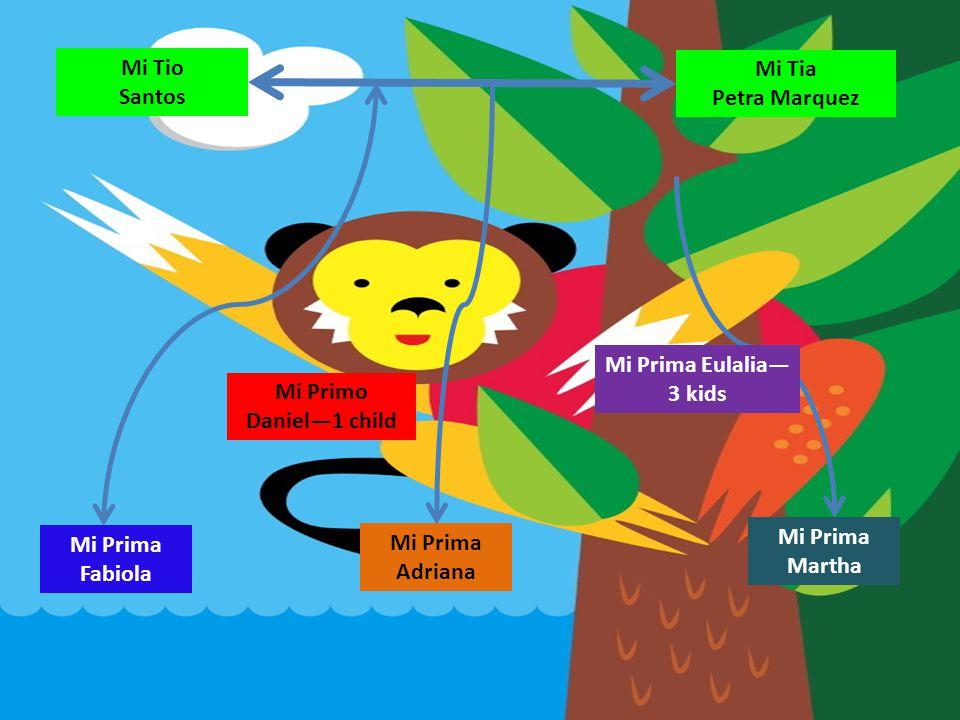Mi Tio Santos. Mi Tia. Petra Marquez. Mi Prima Eulalia—3 kids. Mi Primo. Daniel—1 child. Mi Prima.