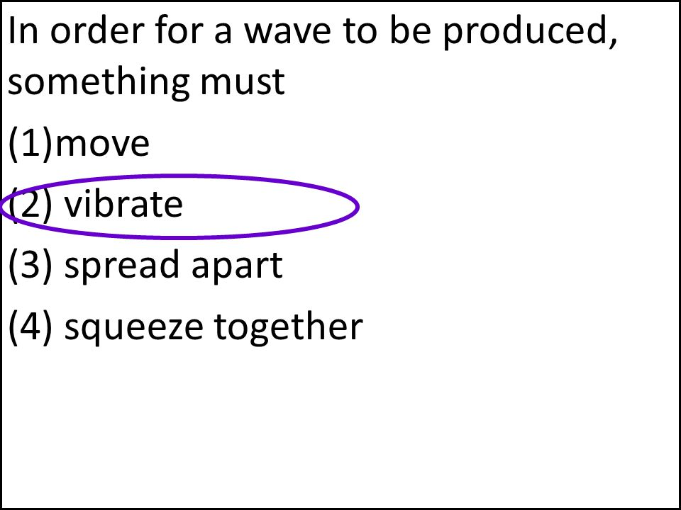 In order for a wave to be produced, something must