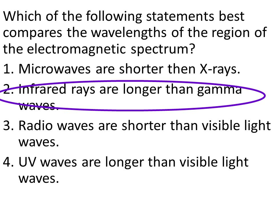 Which of the following statements best compares the wavelengths of the region of the electromagnetic spectrum