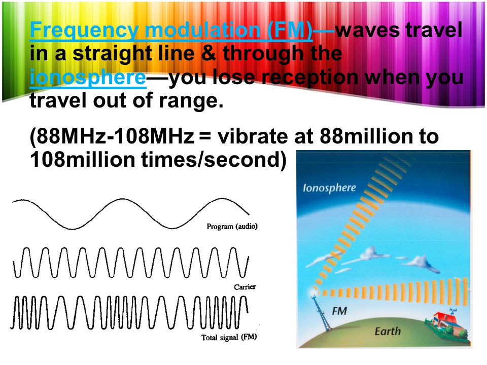 Frequency modulation (FM)—waves travel in a straight line & through the ionosphere—you lose reception when you travel out of range.