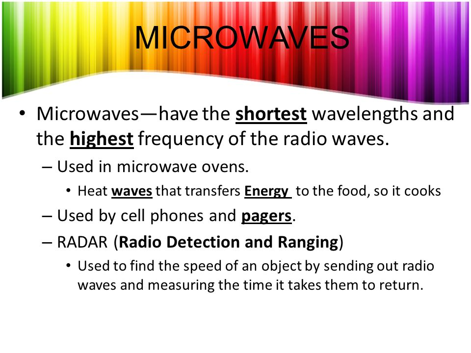 MICROWAVES Microwaves—have the shortest wavelengths and the highest frequency of the radio waves. Used in microwave ovens.