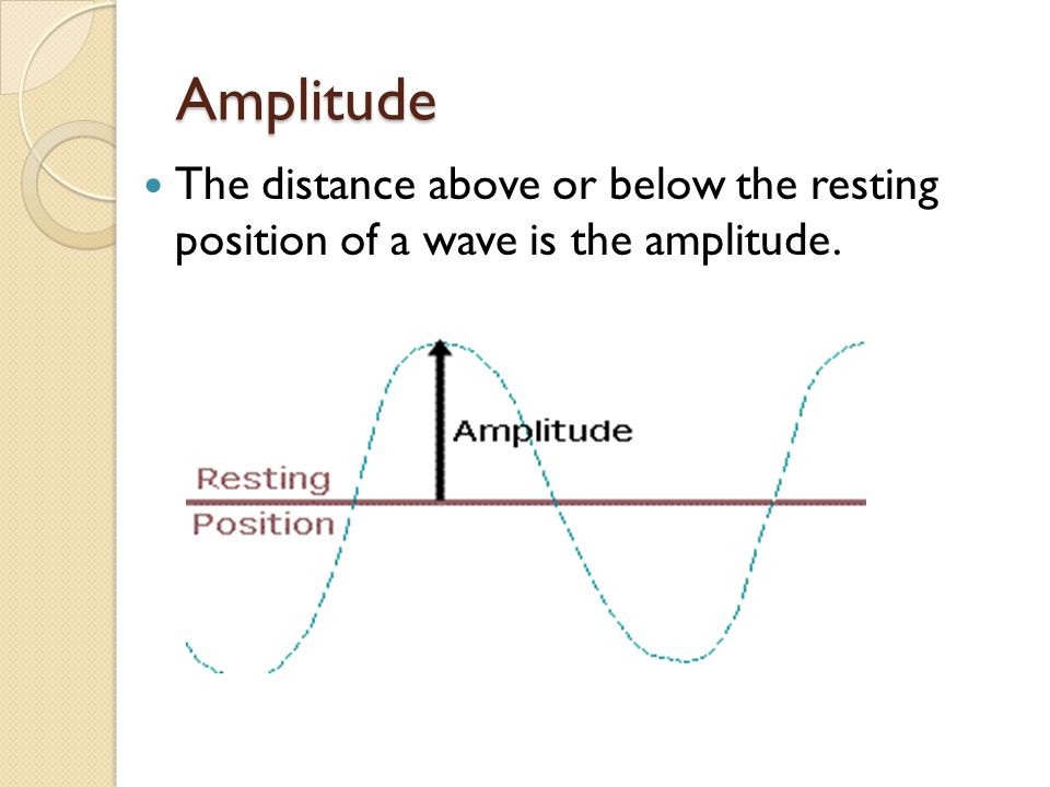 Amplitude The distance above or below the resting position of a wave is the amplitude.