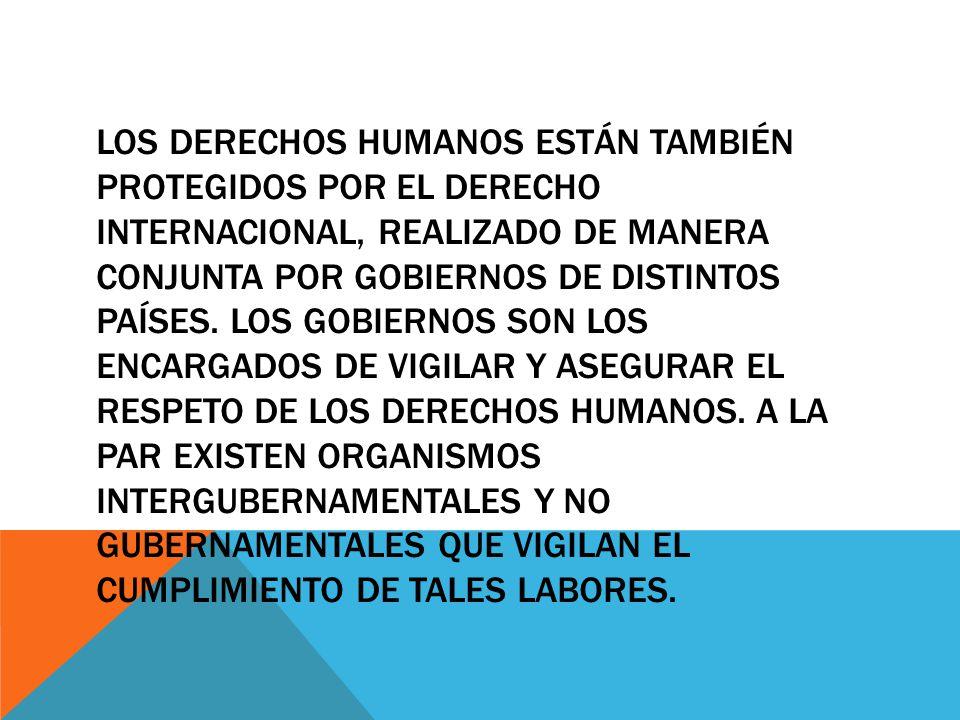 Los derechos humanos están también protegidos por el derecho internacional, realizado de manera conjunta por gobiernos de distintos países.