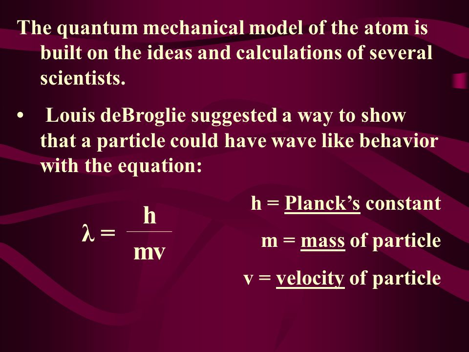 The quantum mechanical model of the atom is built on the ideas and calculations of several scientists.
