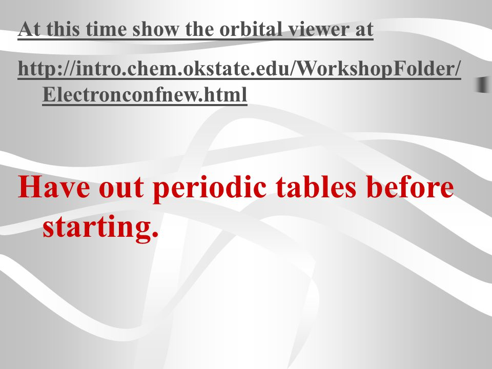 Have out periodic tables before starting.
