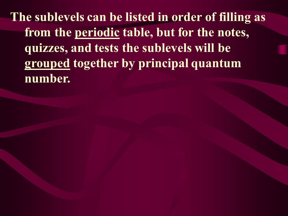 The sublevels can be listed in order of filling as from the periodic table, but for the notes, quizzes, and tests the sublevels will be grouped together by principal quantum number.