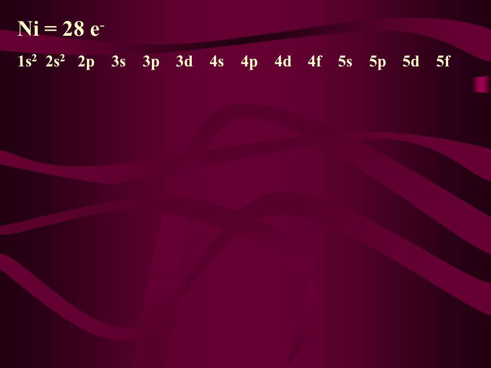 Ni = 28 e- 1s2 2s2 2p 3s 3p 3d 4s 4p 4d 4f 5s 5p 5d 5f