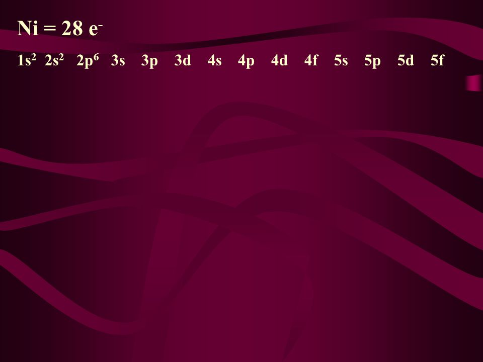 Ni = 28 e- 1s2 2s2 2p6 3s 3p 3d 4s 4p 4d 4f 5s 5p 5d 5f