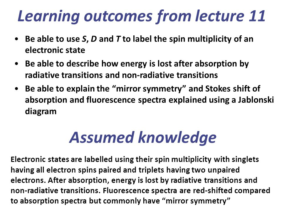 Learning outcomes from lecture 11
